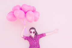 Girl With Heart Balloons Series royalty free stock photos