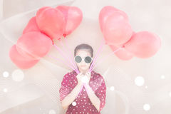 Girl With Heart Balloons Series Royalty Free Stock Photography