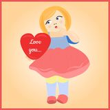 Girl with heart. Cute girl with a heart. Happy Valentine's day Royalty Free Stock Photos