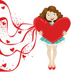 Girl with heart and festive ribbons. Girl with heart valentine and festive ribbons Stock Photos