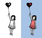 Girl with heart flying Stock Photo
