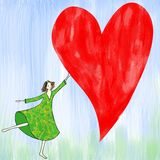 Girl with heart frame. Girl in green patterned dress running with red  heart frame Royalty Free Stock Images