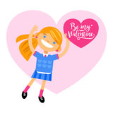 Girl with heart, greetings Happy Valentine`s Day. Cartoon vector flat-style illustration Stock Photo