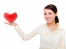 Girl with heart in hand Royalty Free Stock Images