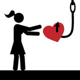 Girl,heart and hook. Vector / illustration.A girl is tricked to take heart from hook Royalty Free Stock Photo