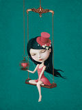 Girl with heart. Illustration or poster with  beautiful girl with  heart in  cage on  swing. Computer graphics Royalty Free Stock Photography