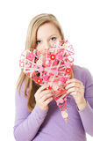 Girl with heart Stock Photo