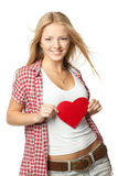 Girl with heart shape Royalty Free Stock Photo