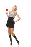 Girl with heart shape Stock Photos