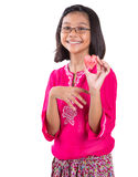 Girl With Heart Shape Cut Out Watermelon II Royalty Free Stock Photography