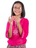 Girl With Heart Shape Cut Out Watermelon IV Stock Photos
