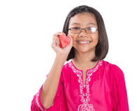 Girl With Heart Shape Cut Out Watermelon V Stock Photography