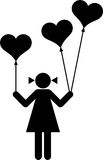 Girl with heart-shaped balloons. Drawn of a girl with heart-shaped balloons Royalty Free Stock Photography