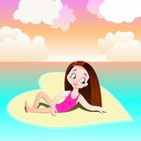 Girl on a heart-shaped beach, sunset time, Valentine`s Day themed illustration Stock Image