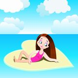 Girl on a heart-shaped beach, Valentine`s Day themed illustration Royalty Free Stock Photography