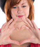 Girl with heart shaped fing Royalty Free Stock Photo