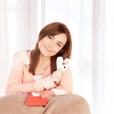 Girl with heart soft toy Royalty Free Stock Photography