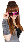 Girl with heart sunglasses Royalty Free Stock Images