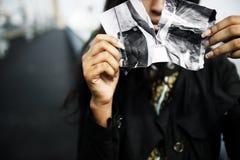 Girl Heartbroken Rip Photo Concept. Heartbroken Woman Rip Photo Concept Royalty Free Stock Photos