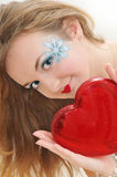 Girl with hearts Royalty Free Stock Photo