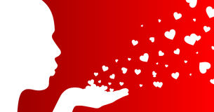 Girl and hearts. Valentine's day concept - isolated on red royalty free illustration