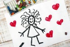 Girl and hearts Royalty Free Stock Photos