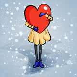 Girl with hearts. Doodle cartoon character Stock Photo