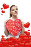 Girl with hearts Stock Photography