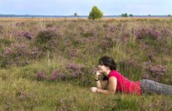 Girl in the heath Royalty Free Stock Photo