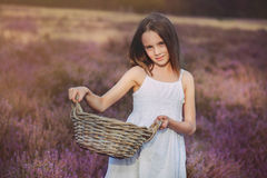 Girl  in a heather meadow. Sweet girl with wicker basket in her hands standing in a heather meadow Stock Image