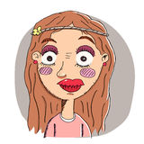Girl with heavy makeup. Cartoon girl with heavy makeup Stock Image