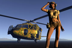 Girl and helicopter. Scene of the girl of the pilot Royalty Free Stock Images