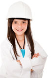 Girl with a helmet Stock Images