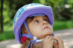 Girl with a helmet Royalty Free Stock Images