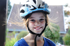 Girl with helmet Royalty Free Stock Photography