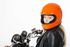 Girl With Helmet Stock Images