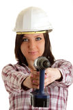 Girl with helmet and drill Royalty Free Stock Photo