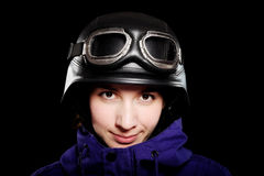 Girl with helmet and goggles Stock Image