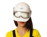 The girl in a helmet lowered on eyes Stock Photos