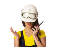 The girl in a helmet lowered on eyes Stock Photo