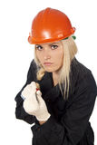 Girl in a a helmet with screwdriver Royalty Free Stock Images