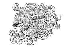 Girl in a helmet with tentacles lineart stock illustration