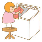 Girl help on laundry Royalty Free Stock Photography