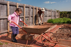Girl helping grandfather in vegetable garden. Young girl pushing wheelbarrow in vegetable garden while grandfather digs in background Royalty Free Stock Photography