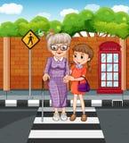 Girl helping grandmother crossing the street vector illustration