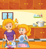 Girl helping mom doing dishes. Illustration Royalty Free Stock Image