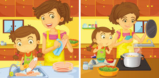 Girl helping mom in the kitchen Stock Images