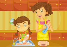 Girl helping mother doing dishes Stock Image
