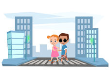 Girl helps a blind boy to cross the road at traffic light stock illustration