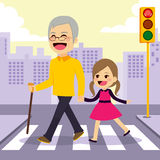 Girl Helps Grandfather Crosswalking Stock Photos